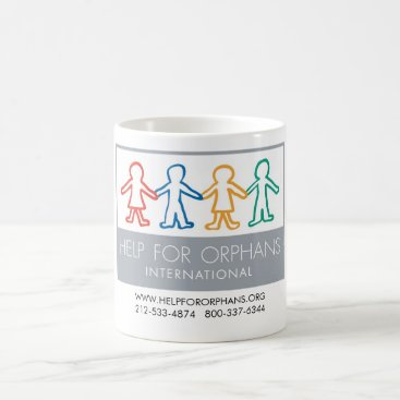 Coffee Themed Help for Orphans White Coffee Mug