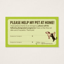 """HELP! I have Pets At Home"" Pet Alert Card"
