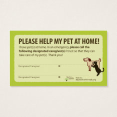 """help! I Have Pets At Home"" Pet Alert Card at Zazzle"