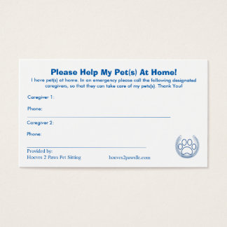 """HELP! I have Pets At Home"" Pet Alert Card Busines"