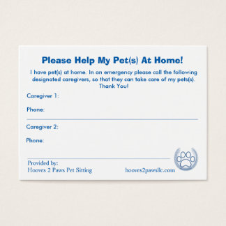 """HELP! I have Pets At Home"" Pet Alert Card Large"
