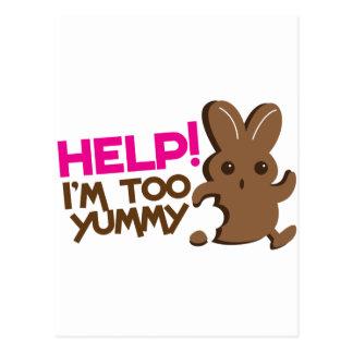 HELP ! I'm too YUMMY! Easter bunny Chocolate run Postcard