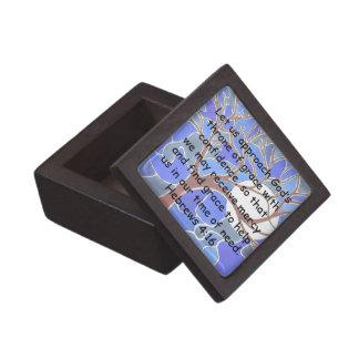 Help in time of need - Hebrews 4:16 - Bible verse Keepsake Box