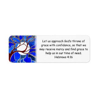 Help in time of need - Hebrews 4:16 - Bible verse Label
