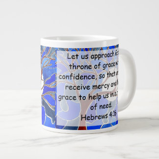 Help in time of need - Hebrews 4:16 - Bible verse 20 Oz Large Ceramic Coffee Mug