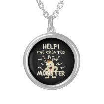 Help I've Created a Monster Mothers Day Fathers Silver Plated Necklace