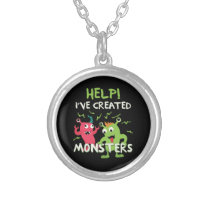 Help I've Created Monsters Mothers Day Fathers Day Silver Plated Necklace