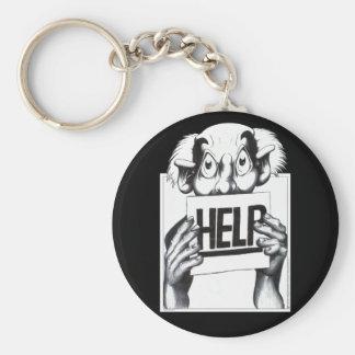 Help Basic Round Button Keychain
