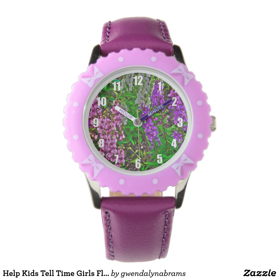 Help Kids Tell Time Girls Floral Purple Watch