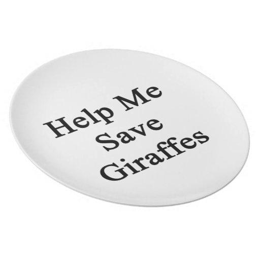 Help Me Save Giraffes Dinner Plates