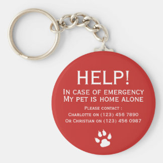 Help pet home alone emergency contact personalized keychain