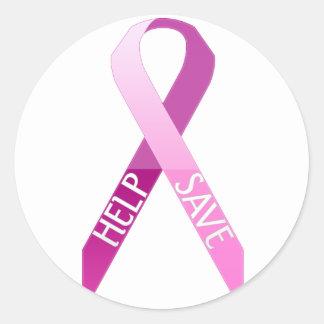 help & save round stickers