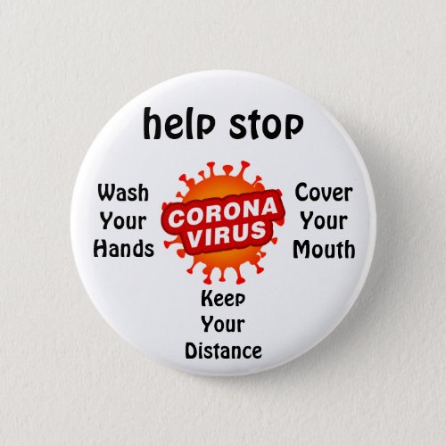 Help Stop Corona Virus Hygiene Health Pin Button