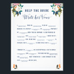 """Help the Bride Write Her Vows Bridal Shower Game Flyer<br><div class=""""desc"""">Bride Libs Game with fill in the blank prompts.   The gorgeous painted florals are by Create the Cut. Find them on Creative Market https://crmrkt.com/7WdAX,  Etsy https://www.etsy.com/shop/CreateTheCut,  and  www.createthecut.com</div>"""
