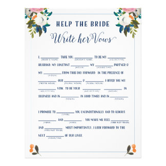 Help the Bride Write Her Vows Bridal Shower Game Flyer