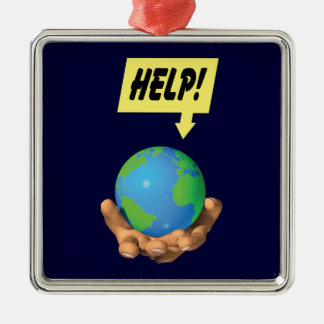 Help the Earth Square Metal Christmas Ornament