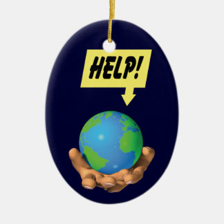 Help the Earth Double-Sided Oval Ceramic Christmas Ornament