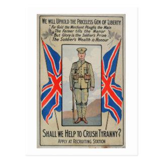 Help to Crush Tyranny_Propaganda Poster Postcard