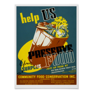 Help Us Preserve Food Poster