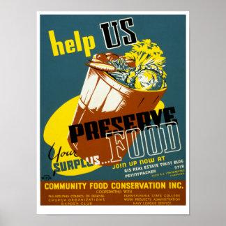 Help Us Preserve Food Posters