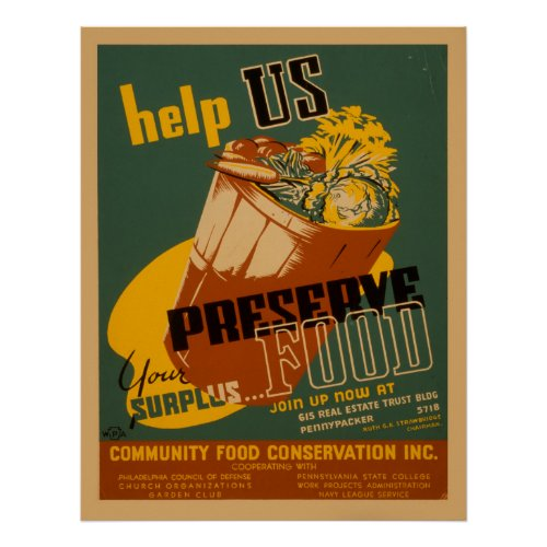 Help Us Preserve Your Surplus Food WPA Poster