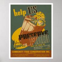 Help us Preserve your Surplus Food - WPA Poster