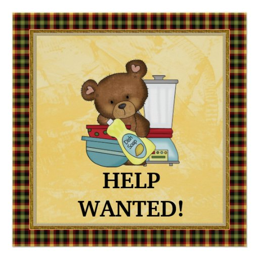 Help wanted kitchen poster zazzle for Kitchen ideas w2 5sh
