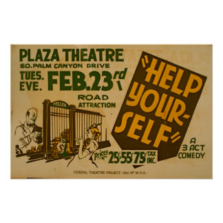 Help Your-Self Plaza Theatre Vintage Theatre WPA Poster