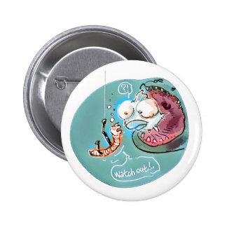 helpful fishbait earthworm funny cartoon pinback button
