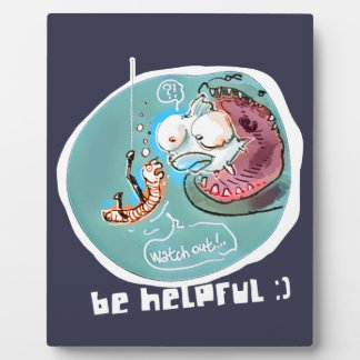 helpful fishbait earthworm funny cartoon plaque