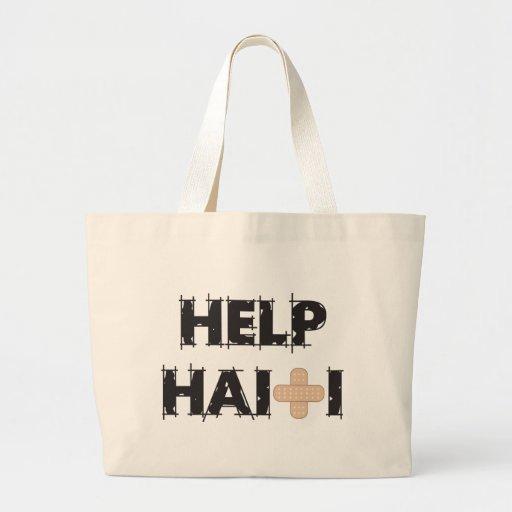 HelpHaitiText4.ai Canvas Bags