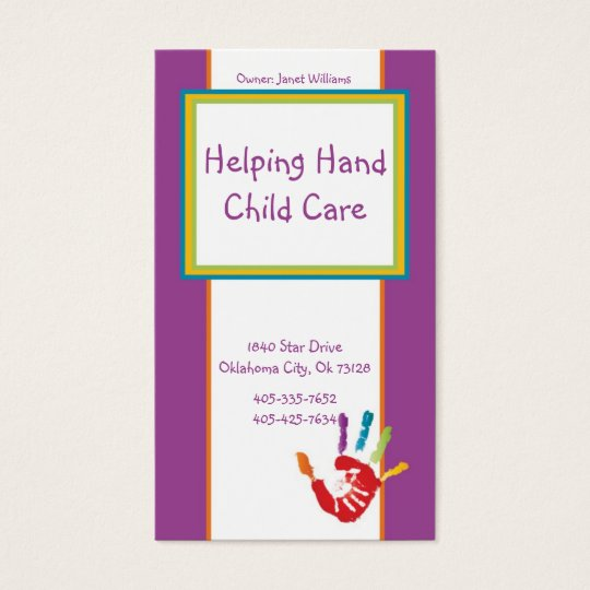 Helping Hand Child Care Business Card