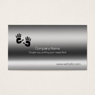 Helping Hands on brushed steel-effect Business Card