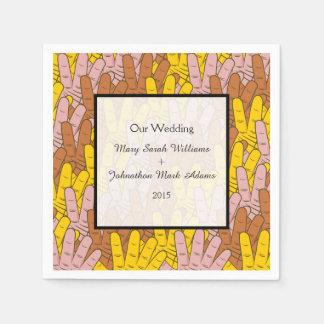 Helping Hands Pattern Wedding Keepsake Paper Napkin