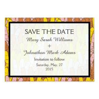Helping Hands Pattern Wedding Save The Date 5x7 Paper Invitation Card