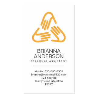 Helping hands symbol, orange, personal assistant Double-Sided standard business cards (Pack of 100)