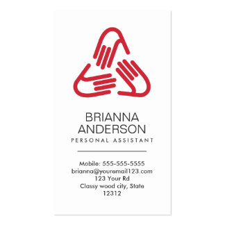 Helping hands symbol, red, personal assistant Double-Sided standard business cards (Pack of 100)