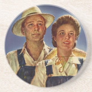 Helping on the Farm Conservation During WWII Beverage Coaster