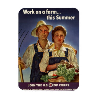 Helping on the Farm Conservation During WWII Rectangular Photo Magnet
