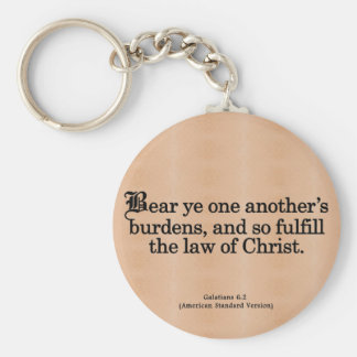Helping Others in Christ Galatians 6-2 Basic Round Button Keychain