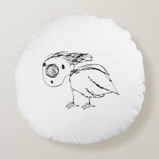 Helpless Bird Sketch Up Drawing Round Pillow