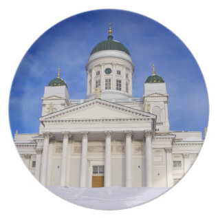 Helsinki Cathedral In Winter Snow Dinner Plate at Zazzle