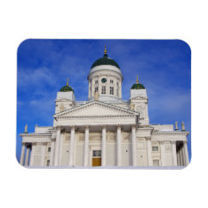 Helsinki Cathedral In Winter Snow Magnet at Zazzle
