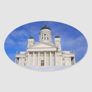 Helsinki Cathedral Tuomiokirkko Name Gift Book Tag Oval Sticker