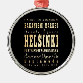 Helsinki City of Finland Typography Art Metal Ornament