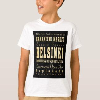 Helsinki City of Finland Typography Art T-Shirt