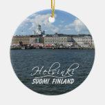 Helsinki Harbor ornament, customize Double-Sided Ceramic Round Christmas Ornament