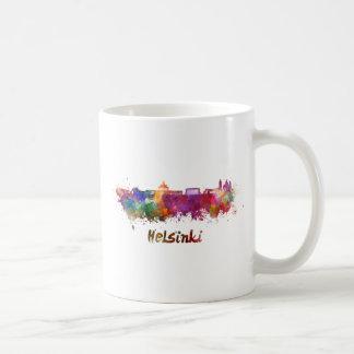Helsinki skyline in watercolor coffee mug