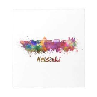 Helsinki skyline in watercolor notepad