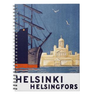 Helsinki Vintage Travel Poster Restored Notebook
